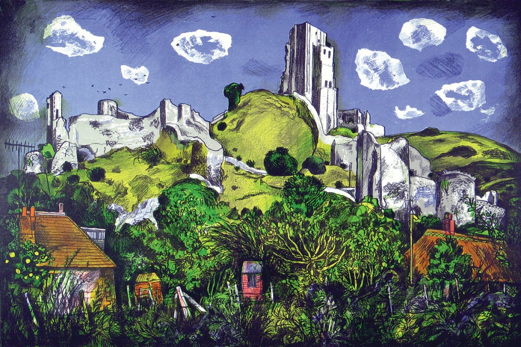 Rigby Graham Corfe Castle Lithograph